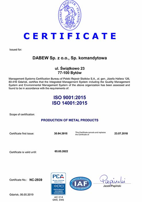 Dabew Certificate ISO 9001:2015 & ISO 14001:2015