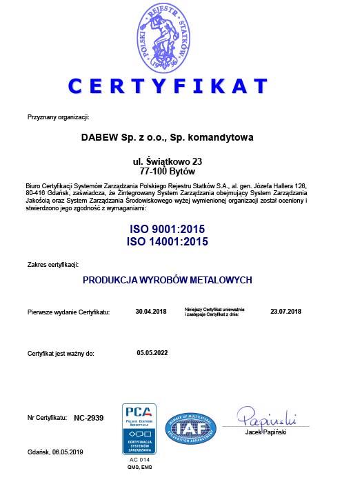 Dabew Certyfikat ISO 9001:2015 & ISO 14001:2015